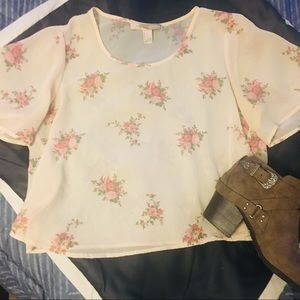 Forever 21 - Cropped sheer pastel/floral top